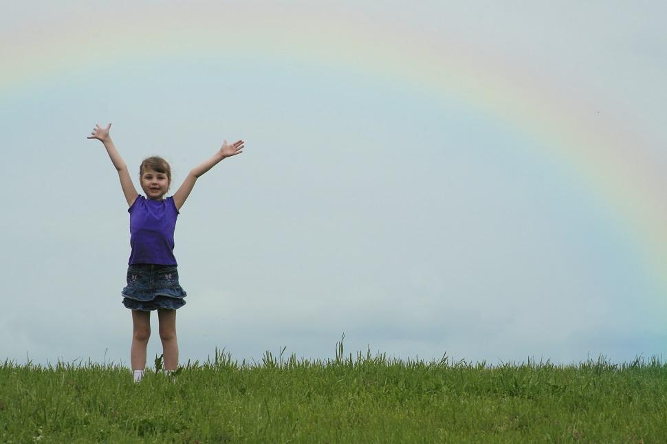 girl, rainbow